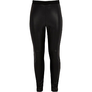 Girls black leather-look front leggings