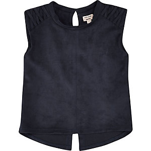 Mini girls navy faux suede sleeveless top