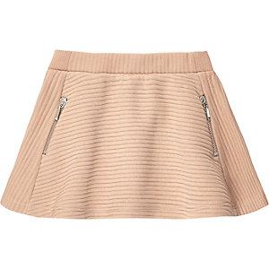 Mini girls brown textured skater skirt