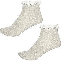 Lot de chaussettes grises avec volants et perles pour fille