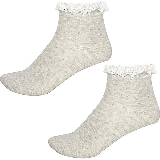 Girls grey pearl frill socks multipack