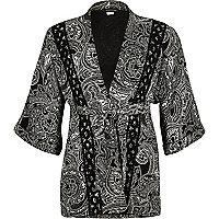 Girls black paisley print kimono jacket