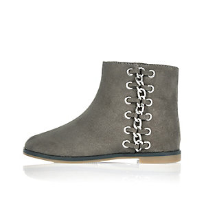 Mini girls grey whipstitch side ankle boots