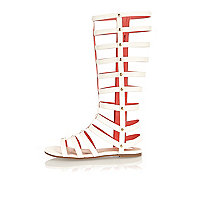 Girls white knee high gladiator sandals