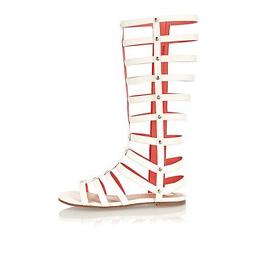 Girls white knee high gladiator sandals