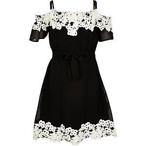 Girls black lace bardot dress