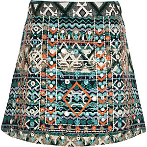 Girls blue embellished A-line skirt