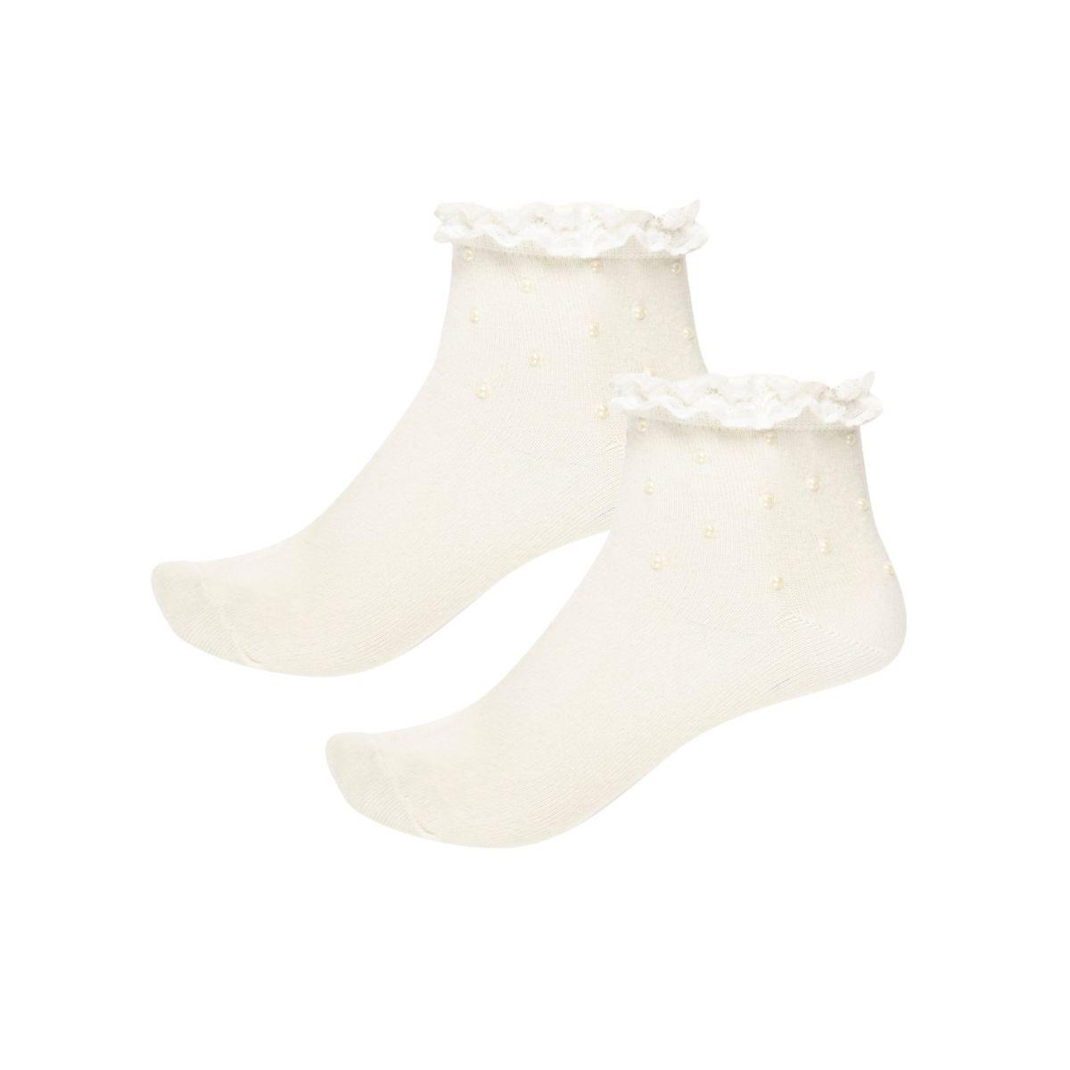 Chaussettes crème cloutées de perles avec volants pour fille
