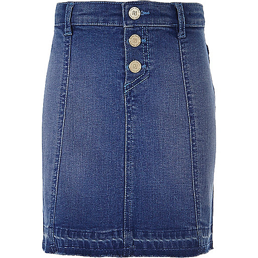 Jupe en jean bleu délavage moyen à boutons pour fille