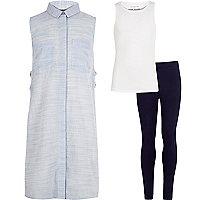Girls blue shirt tank leggings outfit