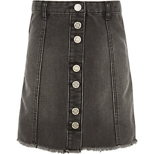 Girls black button-up A-line skirt