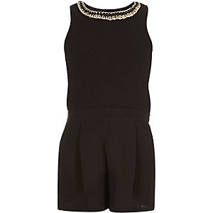 Girls black chain trim romper