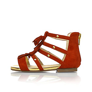 Mini girls red strappy sandals