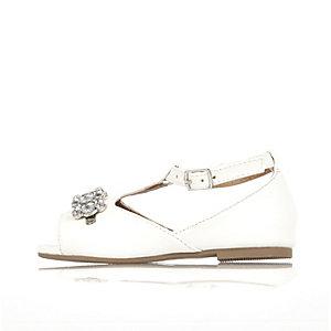 Mini girls white embellished sandals