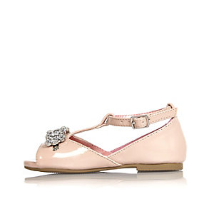 Mini girls pink embellished shoes
