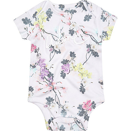 Mini girls floral print babygrow