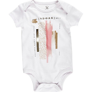Mini girls white adore print babygrow