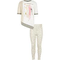 Girls cream adore print top leggings outfit