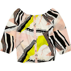 Mini girls pink printed bardot top