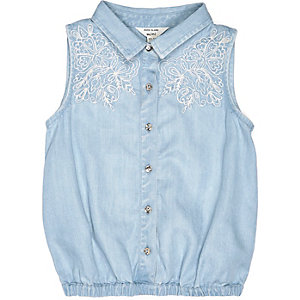 Mini girls blue denim shirt