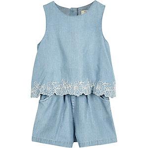 Mini girls blue denim playsuit