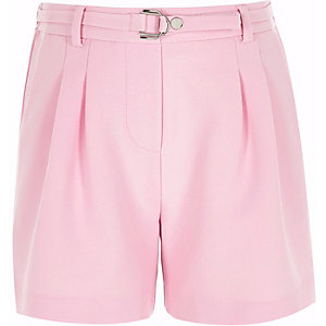 Girls pink D-ring buckle shorts