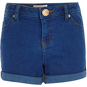Girls bright blue denim shorts