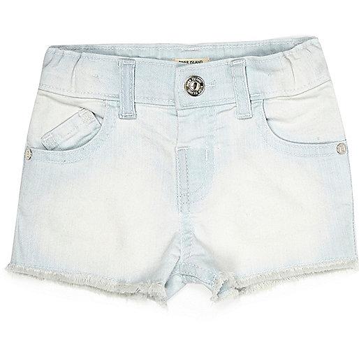 Short en jean à délavage clair pour petite fille