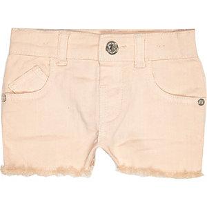 Mini girls light pink denim shorts