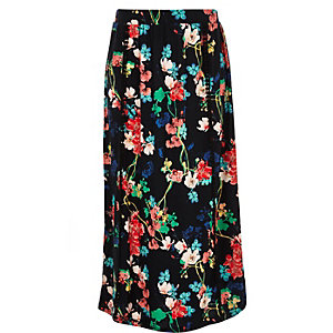 Girls black floral print maxi skirt
