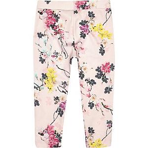 Mini girls pink floral print leggings