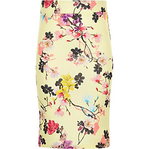 Girls yellow floral print skirt