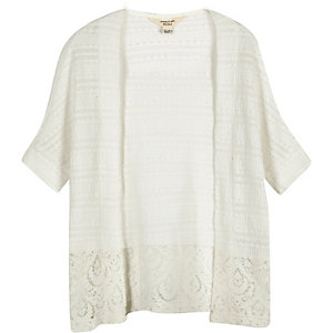Mini girls cream lace hem cardigan