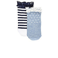 Mini girls blue stripe socks multipack