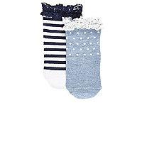 Lot de chaussettes à rayures bleues mini fille