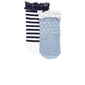 Multipack met blauwe gestreepte sokken voor mini girls