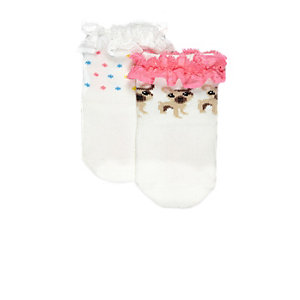 Mini girls cream dog and dot frill socks