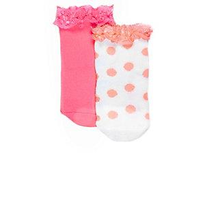 Set felkoraalrode sokken voor mini girls