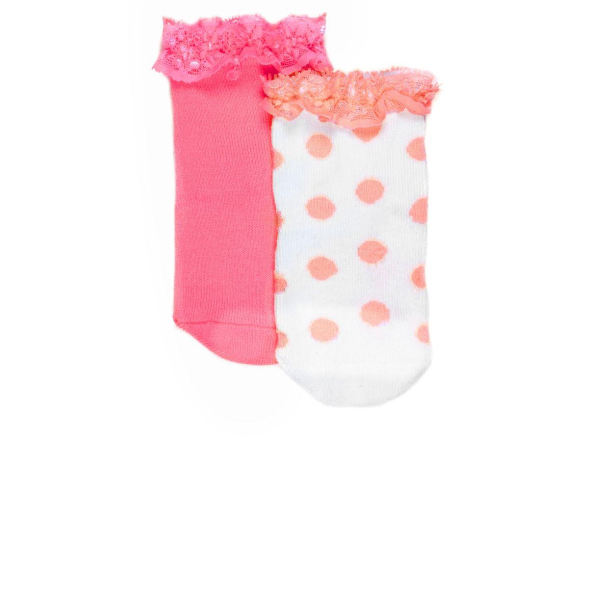 Mini girls fluro coral socks pack