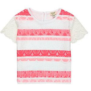 Mini girls white coral lace t-shirt