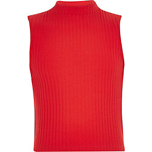 Girls red turtle neck sleeveless top