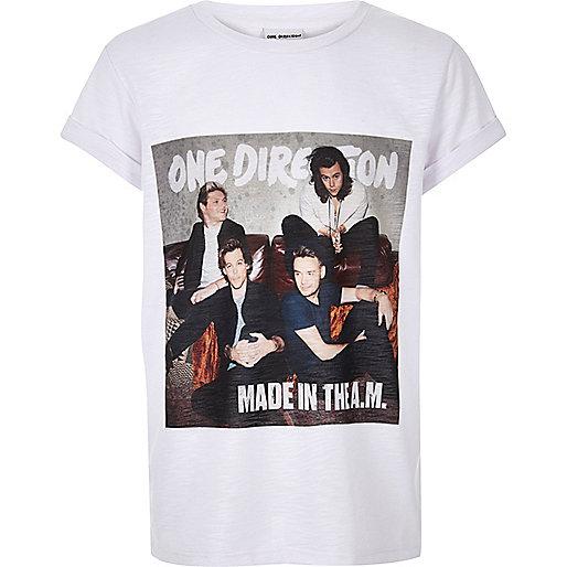 Girls white One Direction print t-shirt