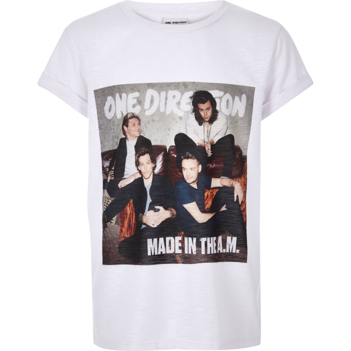 Girls white One Direction print t-shirt