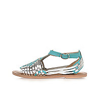 Girls green woven leather sandals