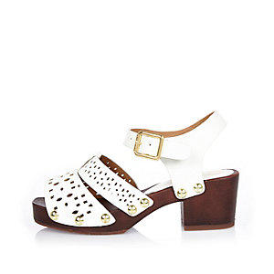 Girls white 70s clog sandals