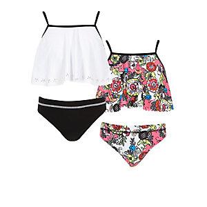 Roze met witte zwemkledingset voor meisjes