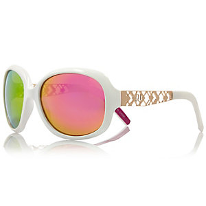 Girls white glam oversized sunglasses