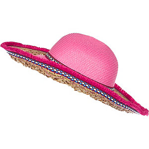 Girls pink floppy fringe hat