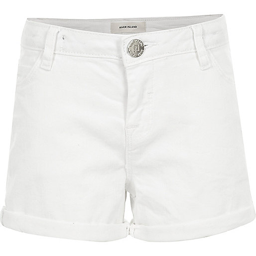 Girls white denim turn-up shorts