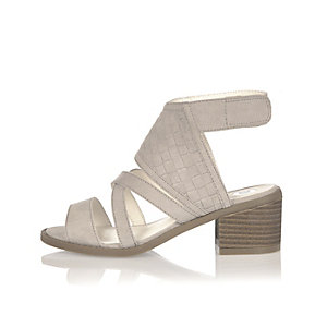 Girls grey block heel sandals